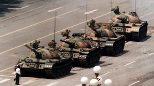 Some people swear they've seen footage of the Tank Man, pictured above, getting run over by the tanks.