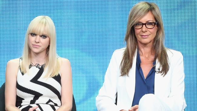 Comedy duo ... Anna Faris and Allison Janney take questions during a discussion about their show Mom. Picture: Frederick M. Brown