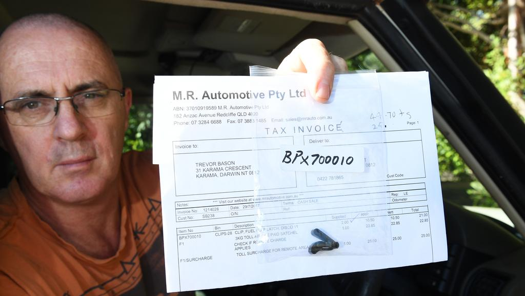 Darwin man Trevor Bason is fuming after having to pay almost $50 in fees to get a car part the size of a 10 cent piece transported up to Darwin. Picture: KATRINA BRIDGEFORD