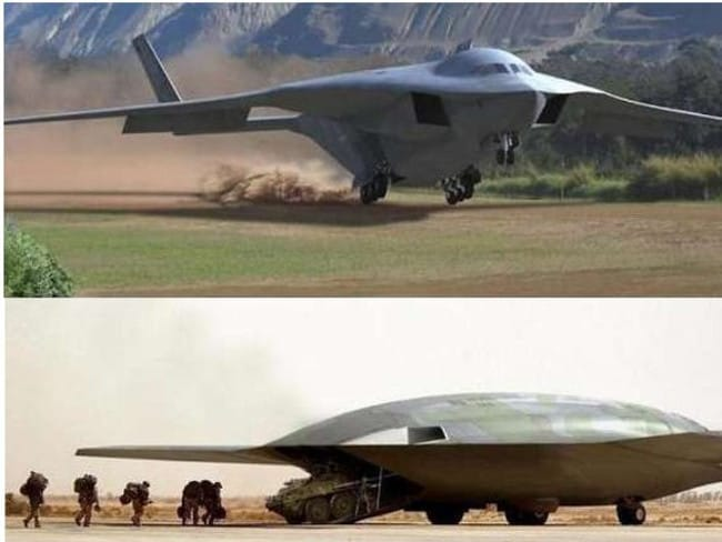 Secret cargo ... A combination of images from Lockheed and Northrop showing conceptual designs for a super-stealthy military cargo plane. Could these now be operating out of Area 51?