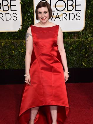 Statement red ... Girls creator and star Lena Dunham. Picture: AP
