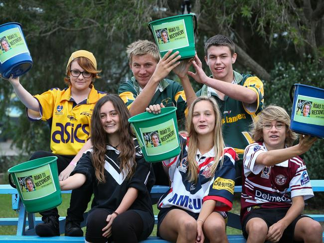 Brooke Whiting, Rhianna Allen, Sam Whitbread, Brianna Amato, Nathan Garrard and Jake Bindon. Raising money for Curtis Landers at the Great Lakes College Forster Campus. Picture: Lindsay Moller