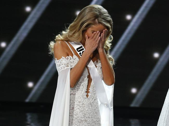 Shocked ... Miss USA Olivia Jordan reacts as she makes it into the final five at the Miss Universe pageant. Picture: AP