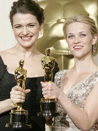 Rachel Weisz (L) and Reese Witherspoon with their Oscars. Picture: Supplied