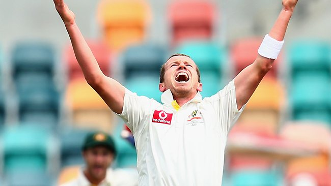 Relief as Peter Siddle finally gets the wicket of Angelo Mathews.