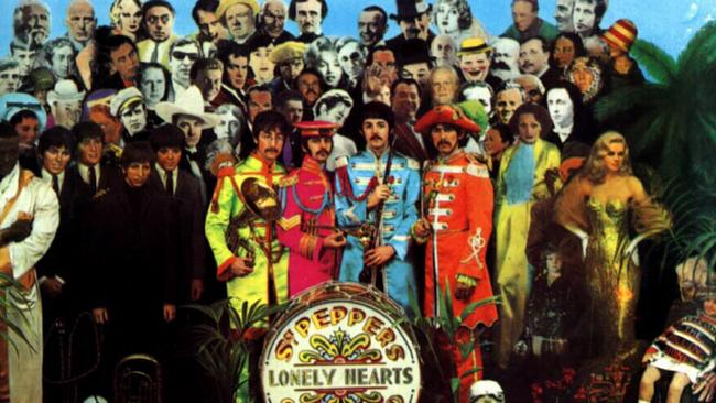The Beatles' album  <i>Sgt. Pepper's Lonely Hearts Club Band</i>, whose innovative contents were packaged in a groundbreaking cover.