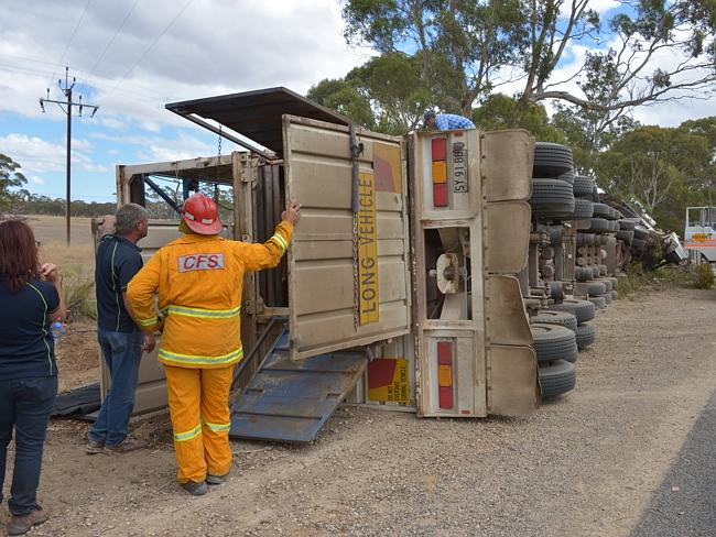 Truck rollover — 'B' double cattle transport roll over 10 kms south of Willalooka on the Riddoch Highway — picture Peter Brookman