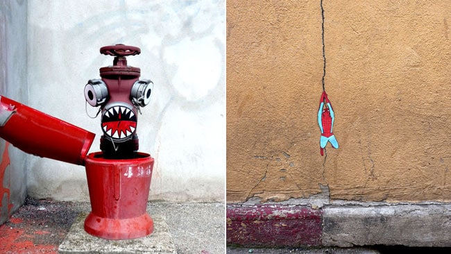 A fire hydrant turns evil and spiderman rides a web in these creations. Picture: OakOak