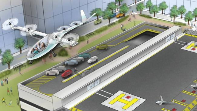 """An illustration from Uber's Elevate white paper on flying cars. """"Vertiports"""" would be established on top of buildings under the company's ambitious plan."""