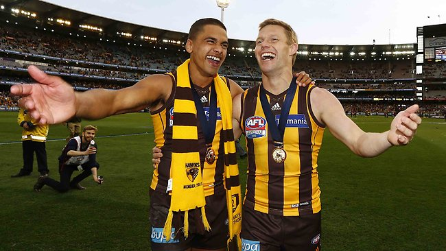 Sweet ... Brad Hill and Sam Mitchell soak up the MCG atmosphere.