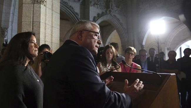 Canadian MPs hold a news conference. Picture: Fred Chartrand/The Canadian Press via AP