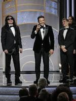 James Franco, with Tommy Wiseau and Dave Franco, accepts the award for Best Performance by an Actor in a Motion Picture Musical or Comedy for The Disaster Artist during the 75th Annual Golden Globe Awards. Picture: Getty