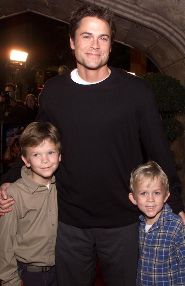 "Family man...Rob Lowe and his sons Matthew and John Owen at the premiere of ""Harry Potter and the Sorcerer's Stone"" in 2001. Picture: Getty"