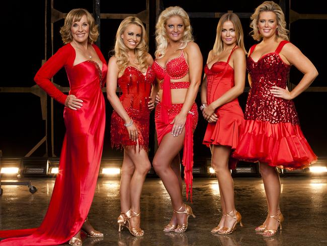 2011 Dancing with the Stars contestants Jan Stephenson, Haley Bracken, Brynne Edelsten, Lara Bingle and Samantha Armytage. Picture: Supplied
