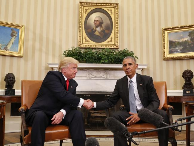 President-elect Trump said he was surprised to like President Barack Obama so much. He has previously led the birther movement against him which claimed Obama was not born in the US. Picture: AP Photo/Pablo Martinez Monsivais.