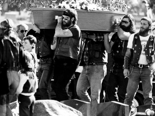Bandidos bikie gang members acts as pallbearers at the funeral of two of their own at Rookwood Cemetery after their 1984 shootout with the Comancheros, known as the Milperra Massacre.