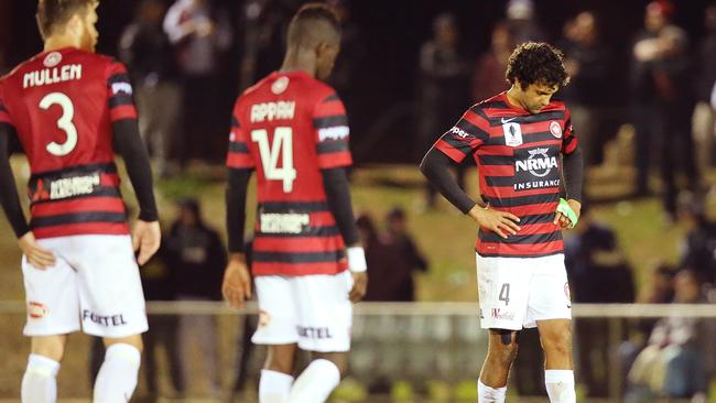 Western Sydney players react after the FFA Cup match between.