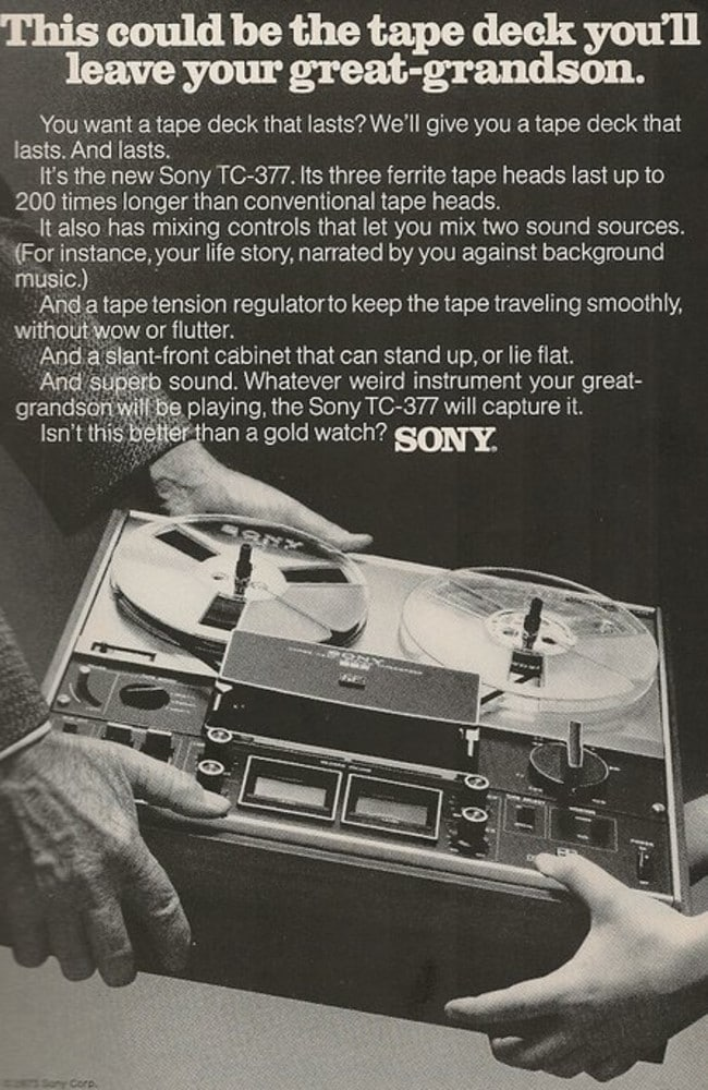 Probably not the tape deck you'll be leaving your great-grandson. Picture: OldSchoolAds