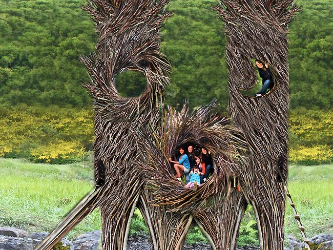 Kids enjoy one of Fanns amazing creations. Picture: Supplied/Jayson Fann