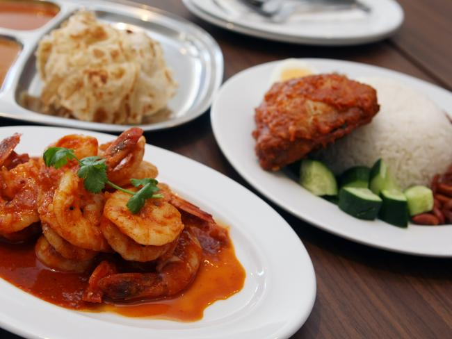 Selection of dishes served at Mamak Restaurant in Chatswood, Sydney.