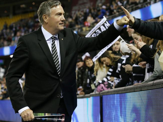 Collingwood president Eddie McGuire with the fans. Pic: Michael Klein
