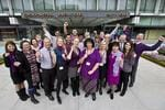 Staff at the City of Perth get behind Purple Friday in support of the Dockers' finals campaign. Picture: Supplied.