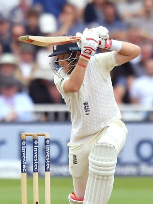 England's captain Joe Root plays a shot during play on the second day of the second Test match between England and South Africa at Trent Bridge cricket ground in Nottingham, central England on July 15, 2017. England were 139 for three as play continued, in reply to South Africa's first innings 335, a deficit of 250 runs. / AFP PHOTO / Anthony Devlin / RESTRICTED TO EDITORIAL USE. NO ASSOCIATION WITH DIRECT COMPETITOR OF SPONSOR, PARTNER, OR SUPPLIER OF THE ECB