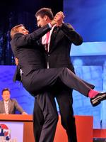 Dancing with Sam Newman on The Footy Show.