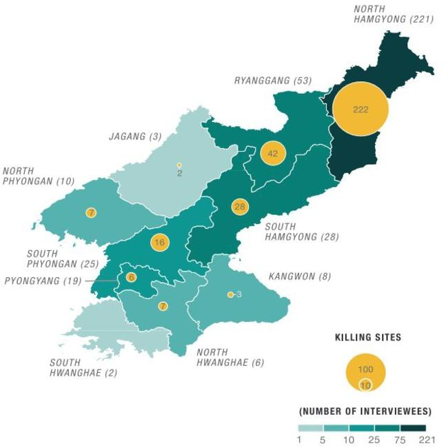 Suspected sites where killings have taken place in North Korea. Picture: Courtesy: The Transitional Justice Working Group