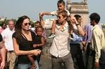 <p>Actors Brad Pitt and partner Angelina Jolie spend Thanksgiving cruising on a motorbike while touring Ho Chi Minh City in Vietnam, 2006</p>
