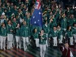 Australian flagbearer Anna Meares leads the Australians into the stadium at the Glasgow Opening Ceremony at Celtic Park. Picture: Adam Head