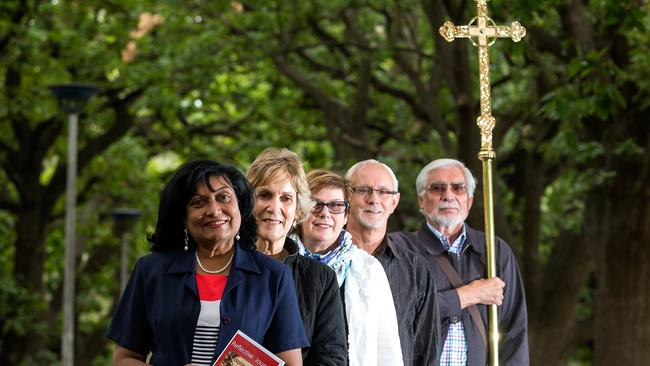 Multiple churches from different denominations in Melbourne will hold a reflective walk at Queens Park on Good Friday to reflect on the true meaning of Easter. From left: Renus Burke from St Monica's Catholic Church, Roslyn Parisian from St Thomas Anglican, Sue and Brian Herberte from Essendon Baptist and Denney Parisian from St Thomas Anglican. Picture: Mark Dadswell