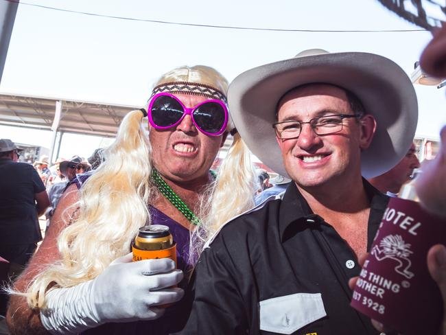 Men in dresses ... a common sight at the Birdsville Races.