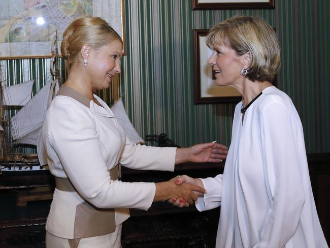 Strong support ... Foreign Minister Julie Bishop (r) meets former Ukrainian Prime Minister Yulia Tymoshenko in Kiev on July 30. Picture: Olexander Prokopenko