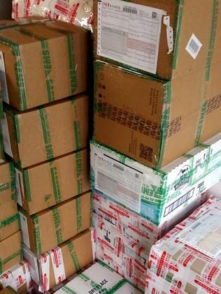 Boxes piled high in the doorway.