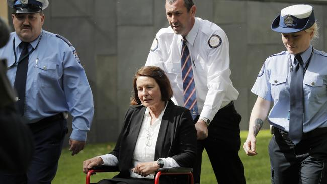 Convicted murderer Sue Neill-Fraser is wheeled from the Supreme Court in Hobart after her case was adjourned for two weeks. Picture: RICHARD JUPE