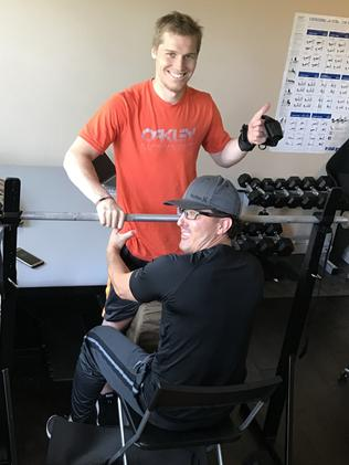 Sam Willoughby continues one-on-one rehabilitation work at his San Diego home.
