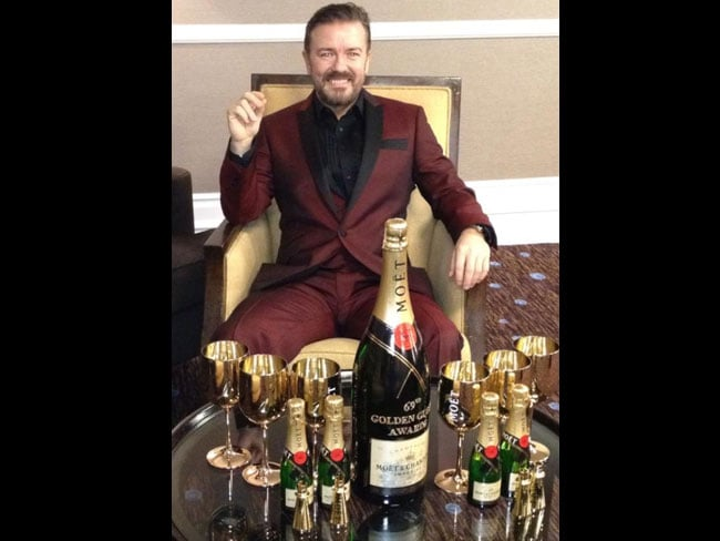 Ricky Gervais looks a happy man. Picture: Twitter