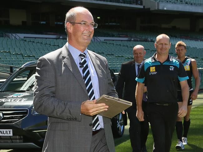 Port Adelaide chairman David Koch with coach Ken Hinkley.