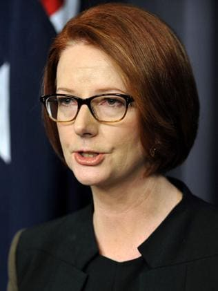 Julia Gillard speaks to the media after her defeat in the party room vote on June 26 in Canberra. Picture: AFP