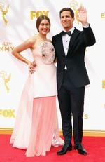 Joanna Newsom and host Andy Samberg attend the 67th Annual Primetime Emmy Awards in Los Angeles. Picture: Getty
