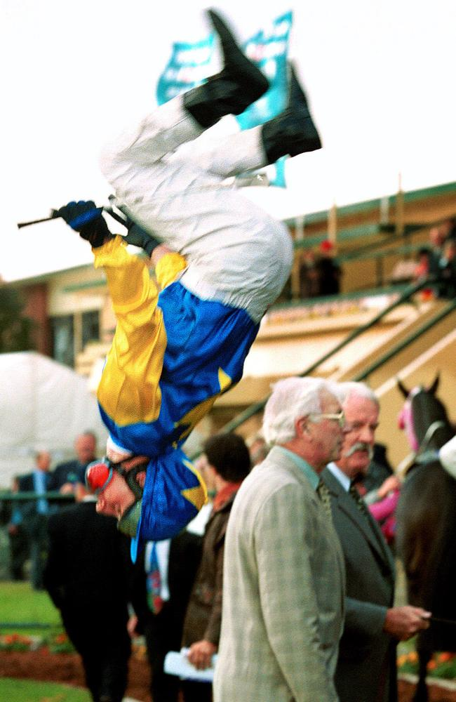 Aaron Spiteri does a backflip dismount after winning the 2000 Goodwood. Picture: Tony Lewis