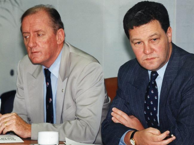 Then Liberal Party leader Alexander Downer and former National Party leader Tim Fischer in 1994. Picture: Supplied