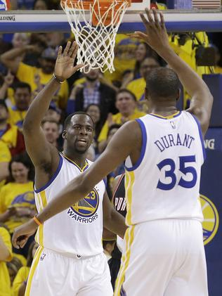 Draymond Green and Kevin Durant were dominant for the Warriors. Picture: AP