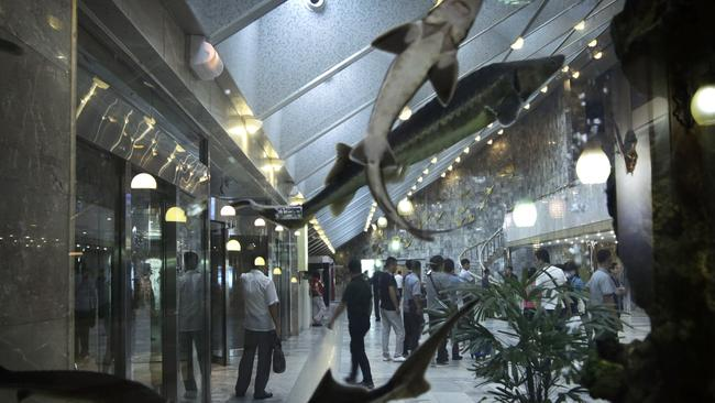 Tourists are seen through a fish tank separating the hotel lobby from a cafe.