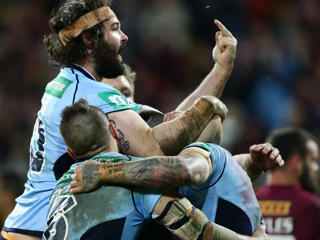 Aaron Woods of NSW gives the finger to the crowd after Josh Dugan's try in State of Origin III.