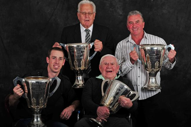 Collingwood's living premiership captains Nick Maxwell (2010), Murray Weideman (1958), Lou Richards (1953) and Tony Shaw (1990).