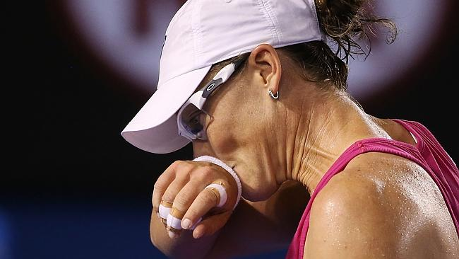 Samantha Stosur reacts after losing a point in her third-round match against Ana Ivanovic.