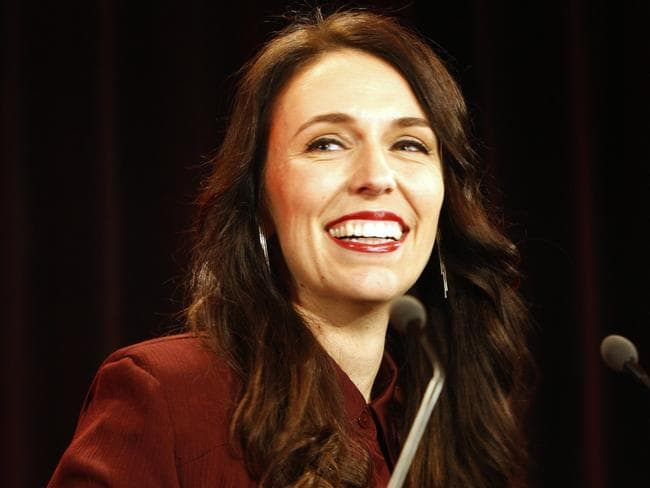 New Zealand's Labour Party leader Jacinda Ardern talks to hundreds of supporters after election results were announced. Picture: Supplied