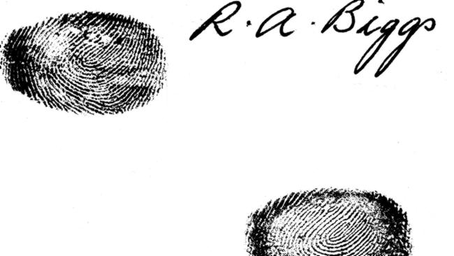 Signature and fingerprints of British fugitive criminal Great Train Robber Ronald (Ronnie) Biggs from 1965.